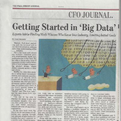 Wall Street Journal - Getting started in Big Data