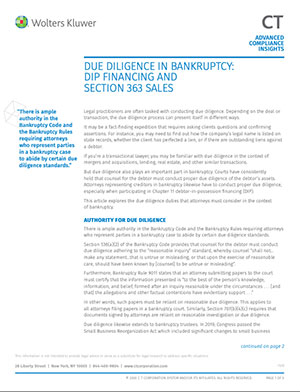 Due diligence in bankruptcy: DIP financing and Section 363 sales