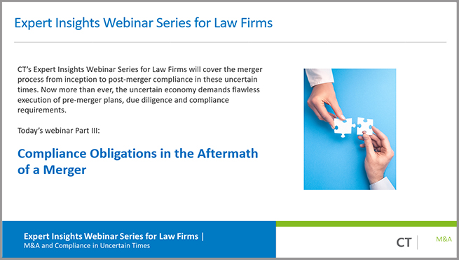 Webinar: Compliance Obligations in the Aftermath of a Merger