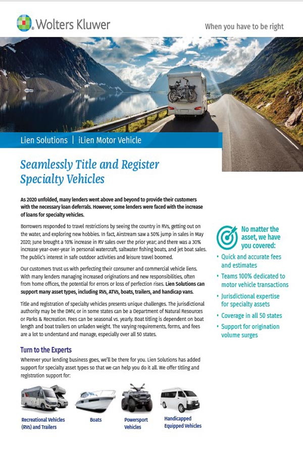 cover page for specialty vehicle assets brochure