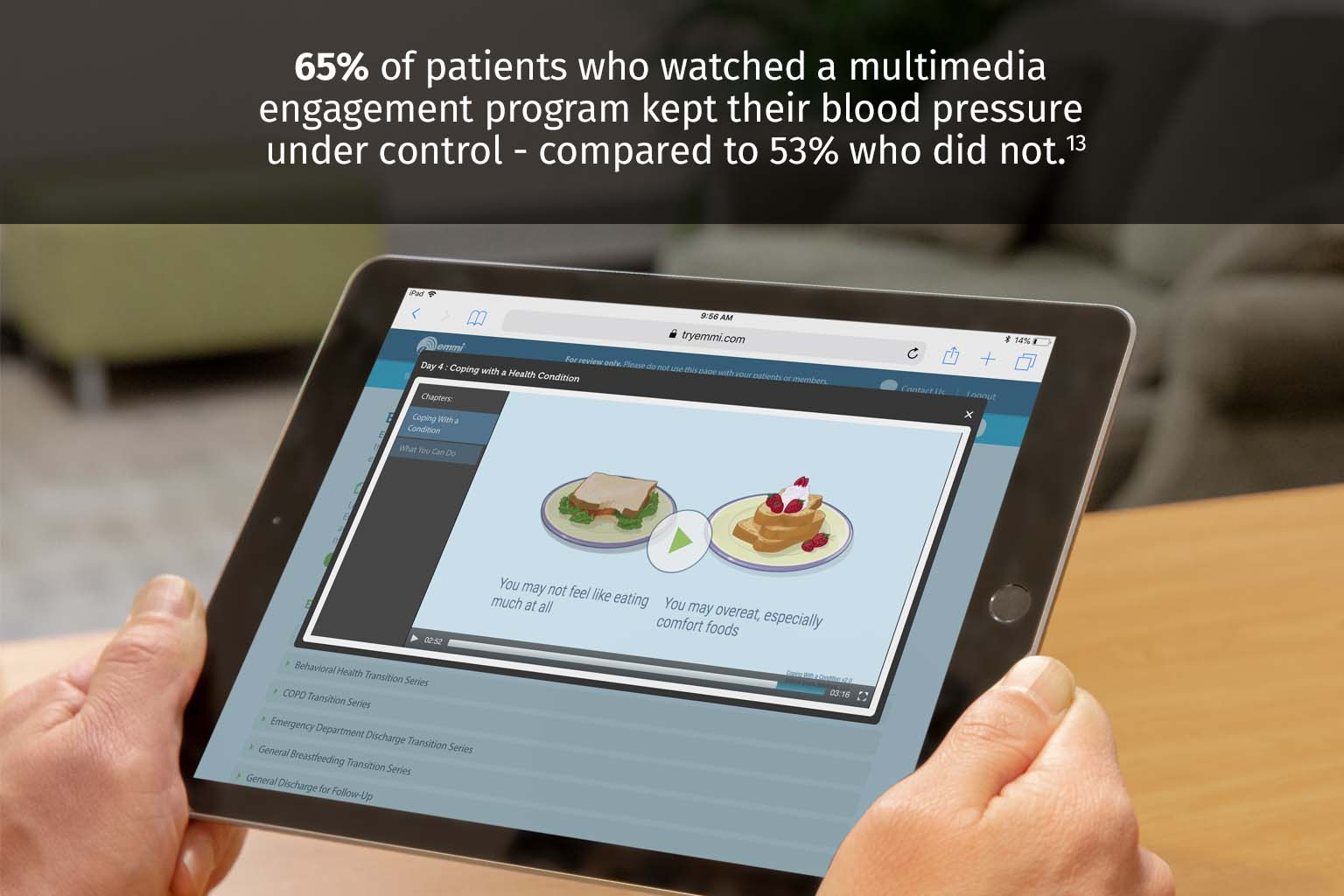 Patient viewing information on a tablet at home