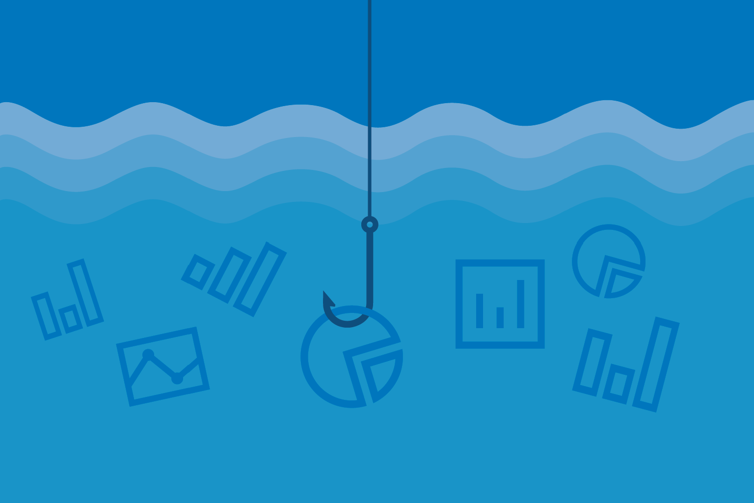 graphic of fish hook and data icons