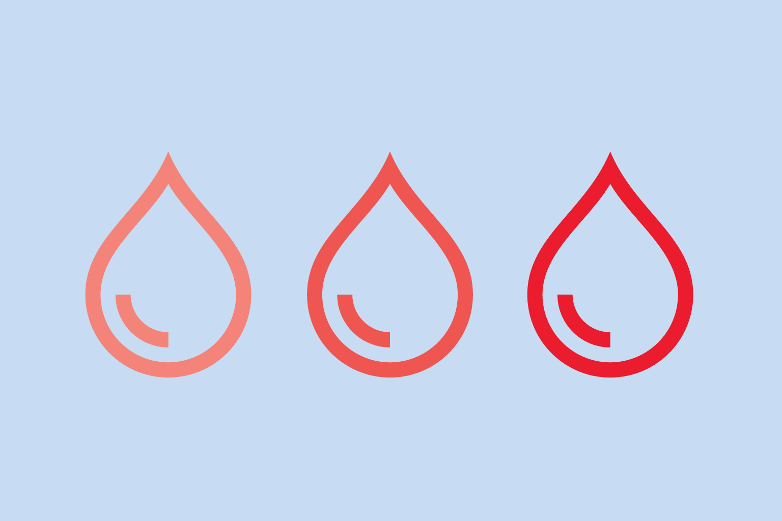 graphic showing 3 blood drops