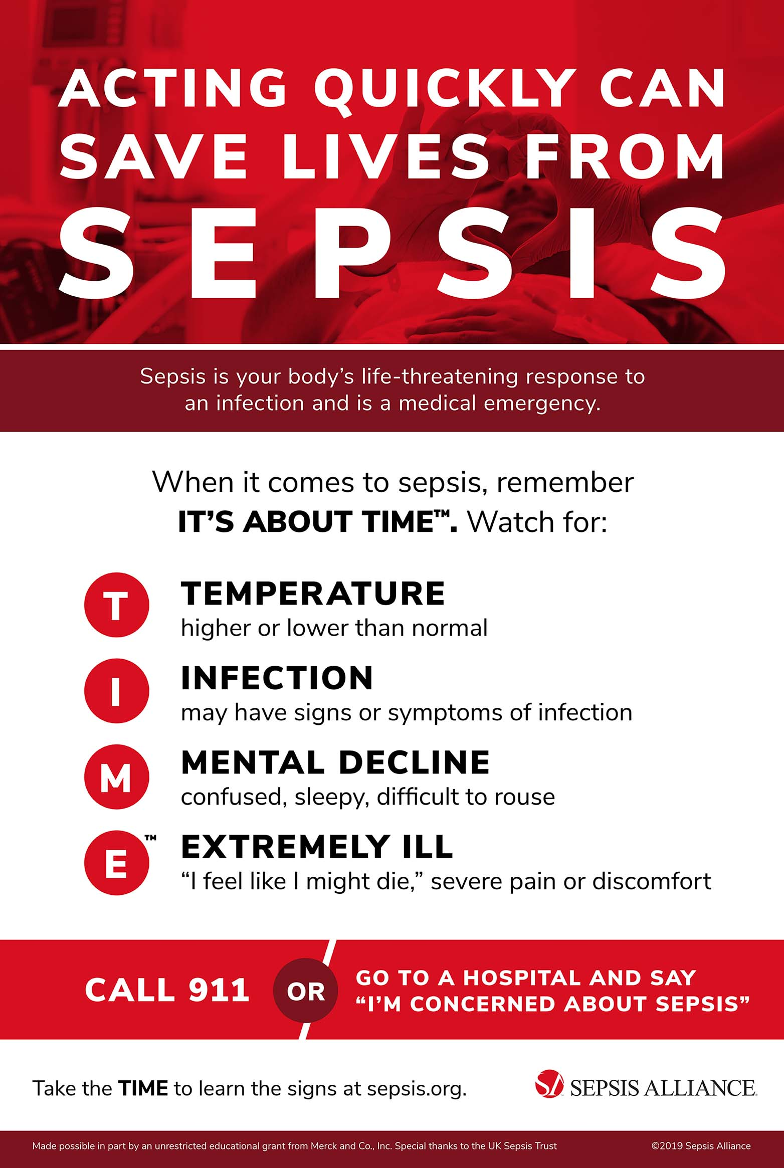 graphic showing steps to take if you suspect someone has Sepsis
