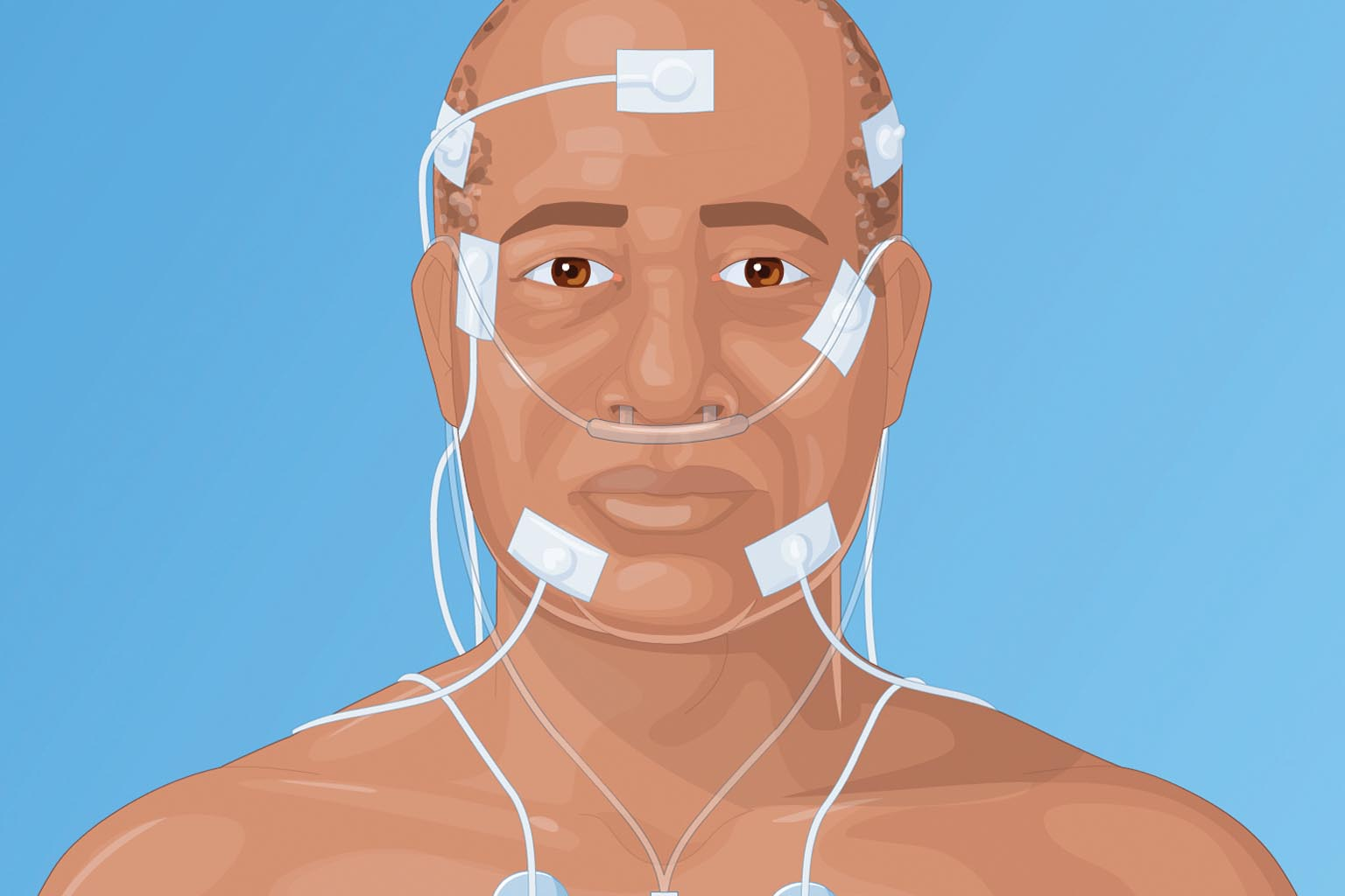 graphic of person with test leads on head and chest