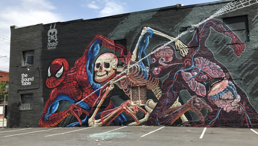 mural depicting Spiderman's anatomy