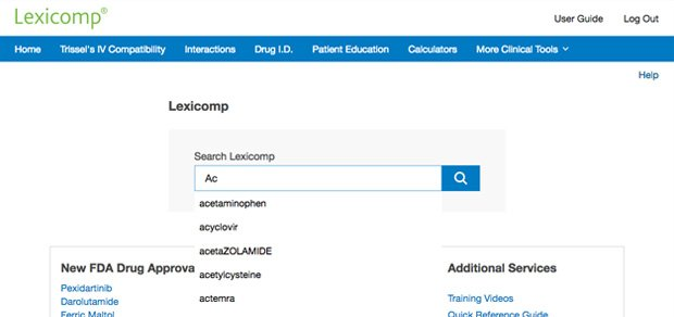 Searching from Lexicomp homepage