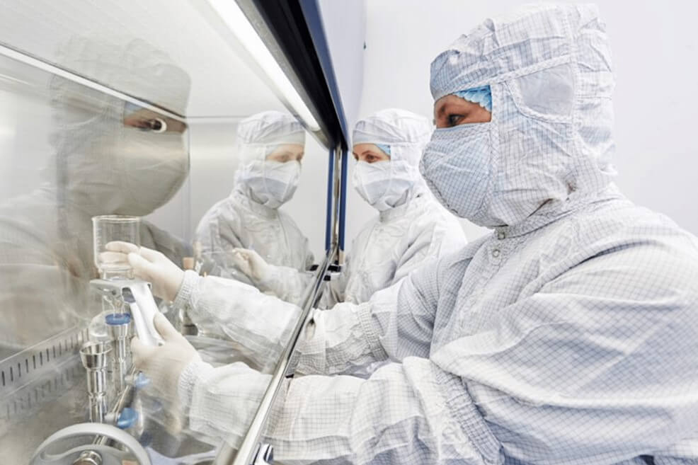 Technician in the cleanroom hood