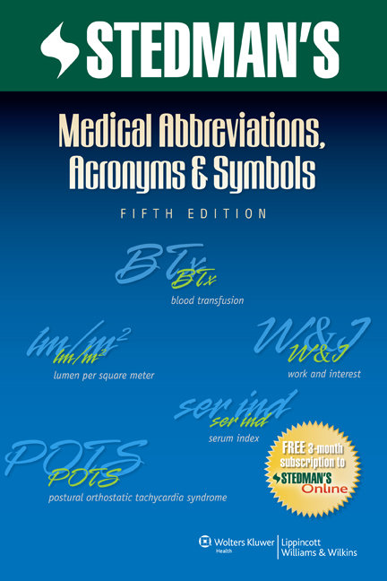Stedman's Medical Abbreviations, Acronyms & Symbols book cover