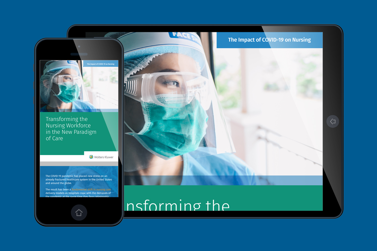 Transforming the Nursing Workforce in the New Paradigm of Care eBook cover shown on mobile and tablet devices