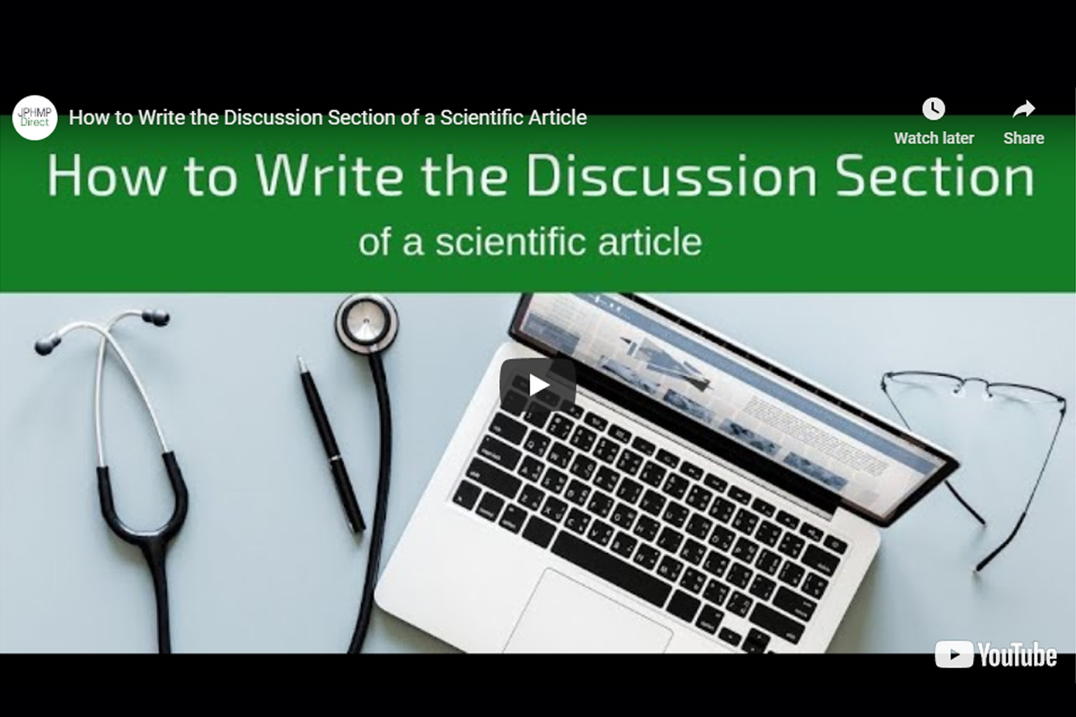 Screenshot of How to write the discussion section video