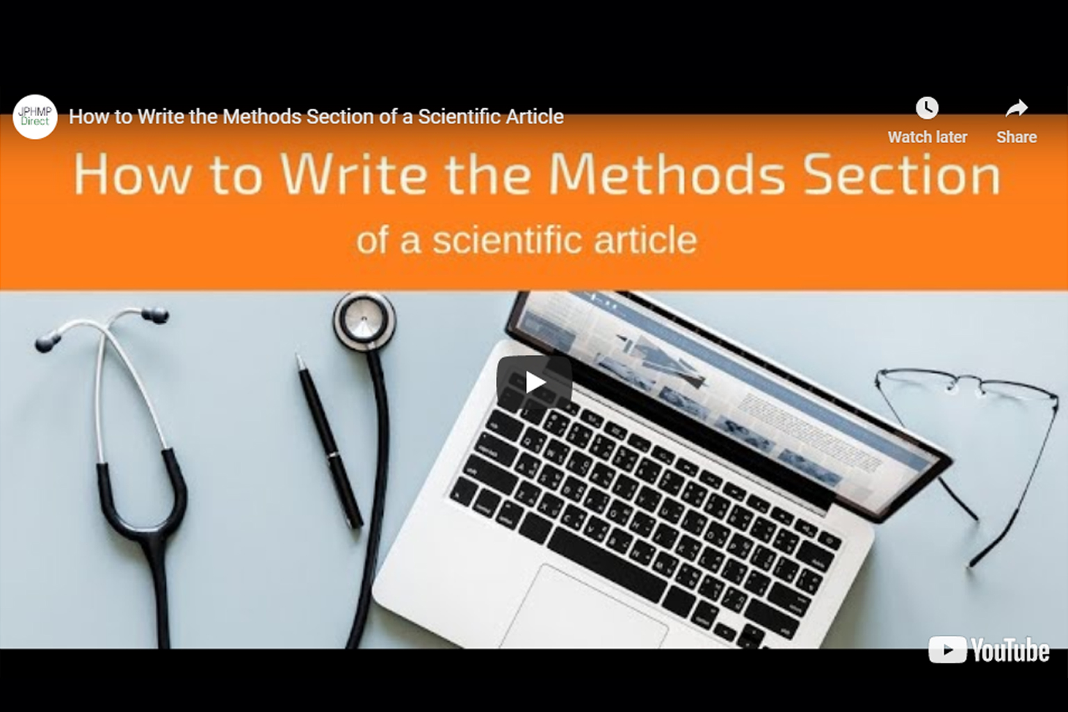 Screenshot of How to write the methods section video