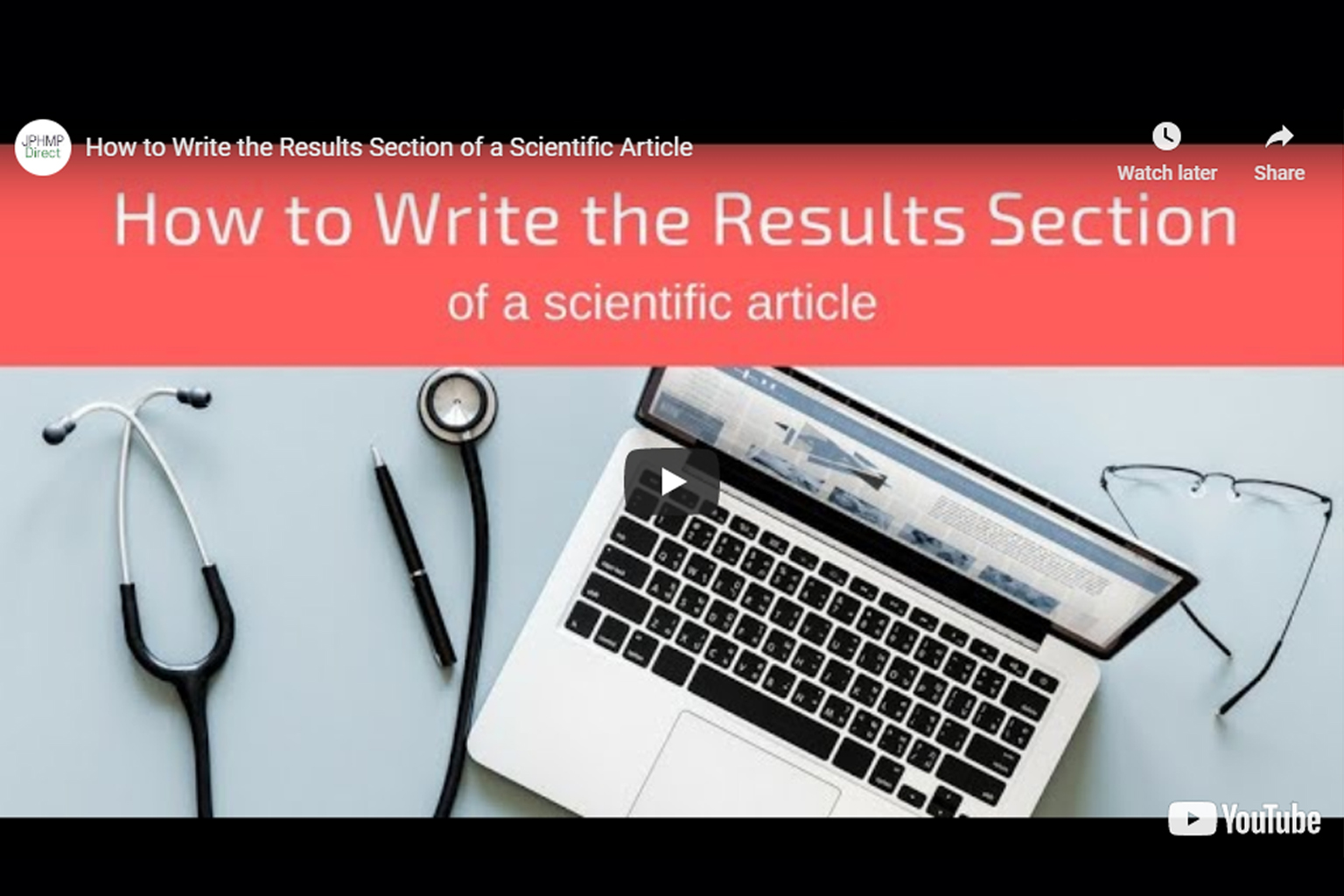 Screenshot of How to write the results section video