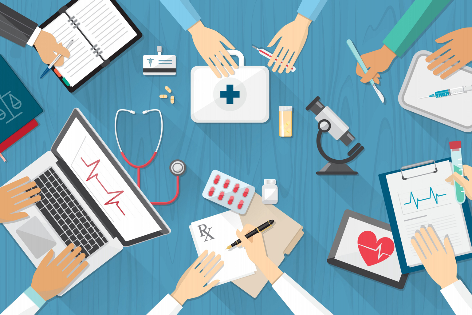Illustration showing multiple healthcare workers hands working on various tools like laptop, clipboard, etc