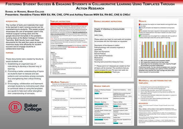 Fostering Student Success and Engaging Students in Collaborative Learning Using Templates Through Action Research poster