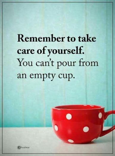 Red mug with following written above it: Remember to take care of yourself. You can't pour from an empty cup.