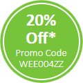 20% off* promo code WEE004ZZ