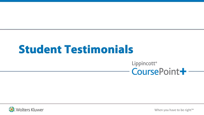 Screenshot of Student testimonials: Lippincott CoursePoint+ video
