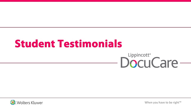 Screenshot of Student testimonials: Lippincott DocuCare video