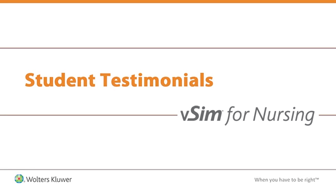 Screenshot of Student testimonials: vSim for Nursing video