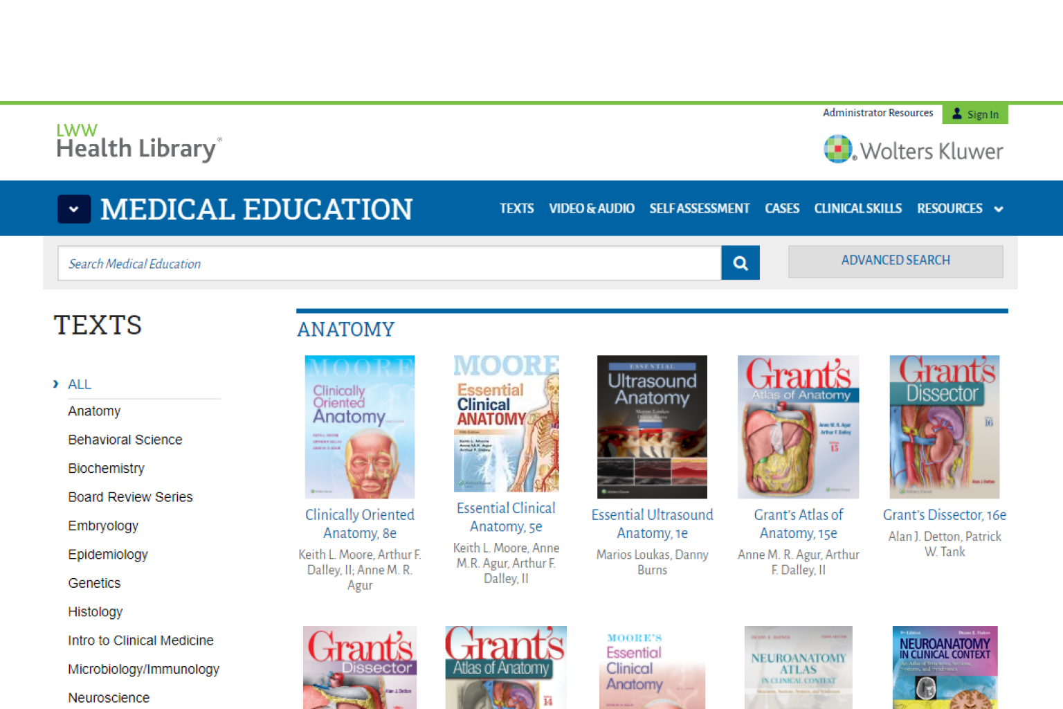 Screenshot of LWW Health Library website