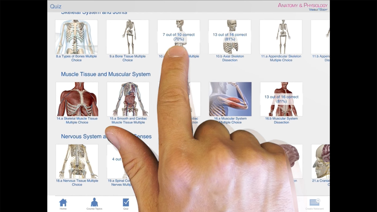 Screenshot of Anatomy & Physiology 2015 tutorial for iPad video