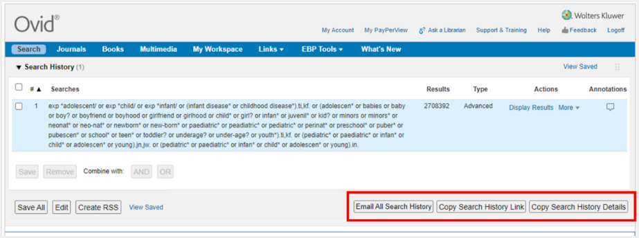 Screenshot of Ovid Search Sharing