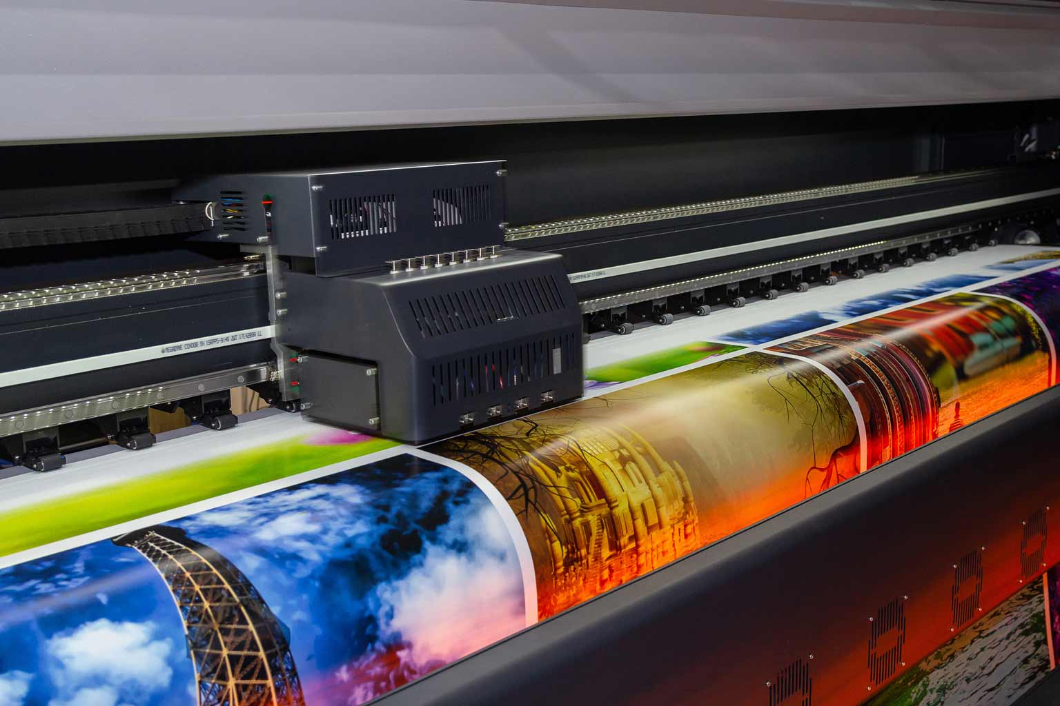 Close up on a poster printer