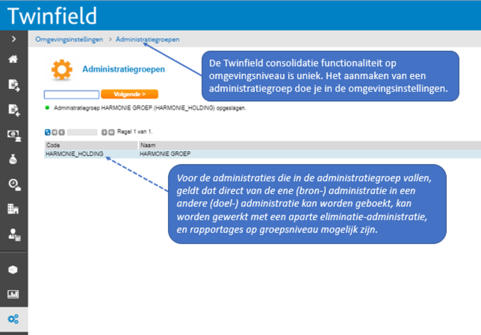 Screenshot van Twinfield dashboard over consolidatie