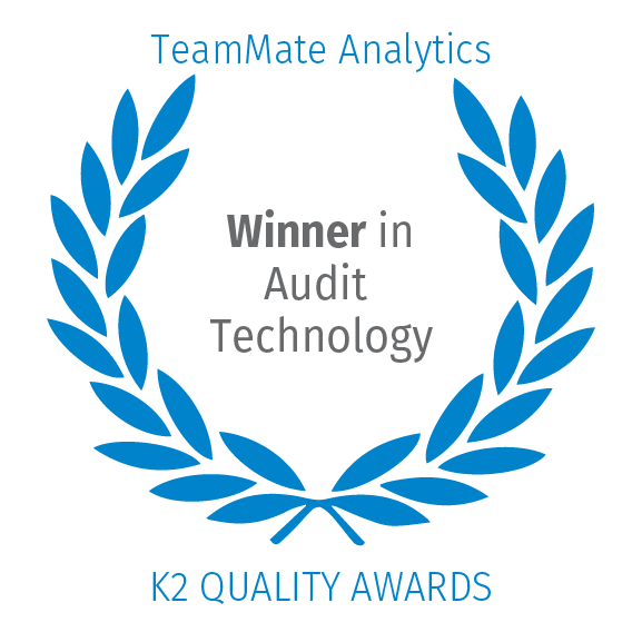 TeamMate Analytics, winner in audit technology by K2 Quality Awards